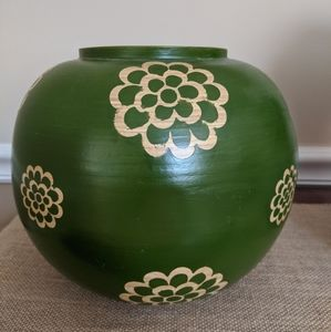 Green Decorative Wood Vase